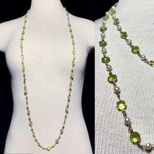 Vintage Lucite Bezel Set Open Back LONG Necklace